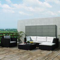 vidaXL 6dílná zahradní sedací souprava s poduškami polyratan černá