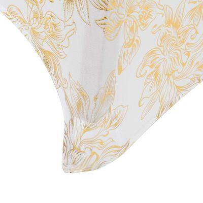 vidaXL Elastické návleky na stůl 2 ks bílé se zlatým potiskem 70 cm, Bílá