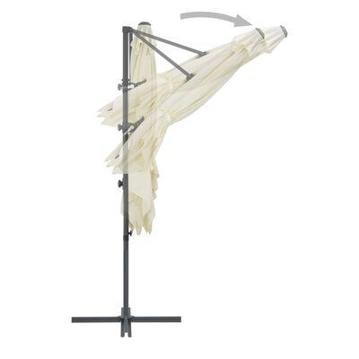 vidaXL Konzolový slunečník s ocelovou tyčí 250 x 250 cm pískový