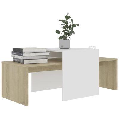vidaXL Set konferenčních stolků bílý a sonoma 100x48x40 cm dřevotříska