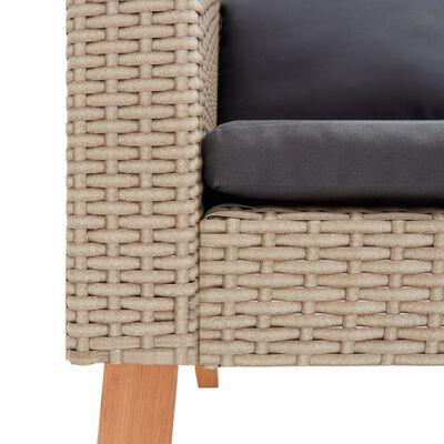 vidaXL 3dílná zahradní sedací souprava s poduškami polyratan béžová, Beige