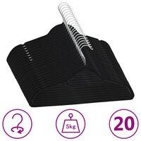 vidaXL 20 ks šatních ramínek protiskluzové černé samet