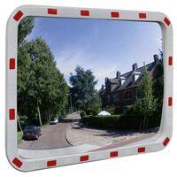 Dopravní vypouklé zrcadlo obdélníkové 60 x 80 cm s odrazkami