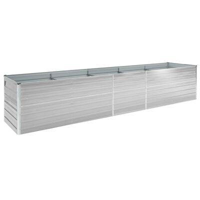 vidaXL Vyvýšený záhon pozinkovaná ocel 400 x 80 x 77 cm šedý