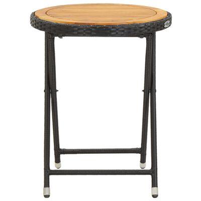 vidaXL Čajový stolek černý 60 cm polyratan a masivní akácie
