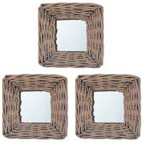 vidaXL Zrcadla 3 ks 15 x 15 cm proutí