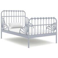 vidaXL Prodloužitelný rám postele šedý kov 80 x 130/200 cm