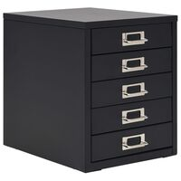 vidaXL Kancelářská skříň s 5 zásuvkami 28 x 35 x 35 cm kovová černá