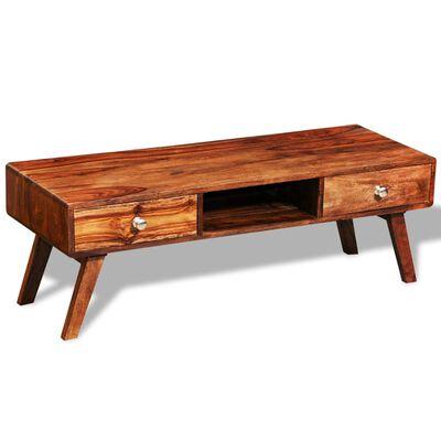 TV stolek / příborník se 2 zásuvkami masivní sheeshamové dřevo 40 cm