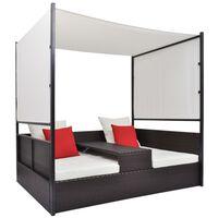 vidaXL Zahradní postel s baldachýnem hnědá 190 x 130 cm polyratan