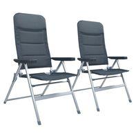 vidaXL Polohovací zahradní židle 2 ks hliník šedé