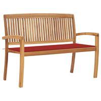 vidaXL Stohovatelná zahradní lavice s poduškou 128,5 cm masivní teak