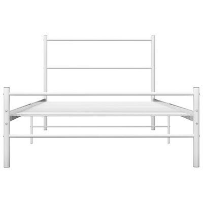 vidaXL Rám postele bílý kov 90 x 200 cm