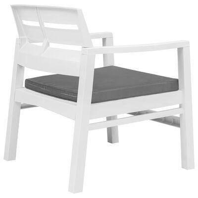 vidaXL 3dílná zahradní sedací souprava bílá plast