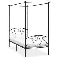 vidaXL Rám postele s nebesy černý kovový 90 x 200 cm