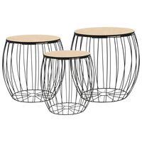 vidaXL Konferenční stolek 3dílná sada z překližky (topol) a železa