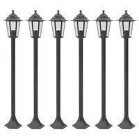 vidaXL Zahradní sloupové lampy 6 ks E27 110 cm hliníkové bronzové