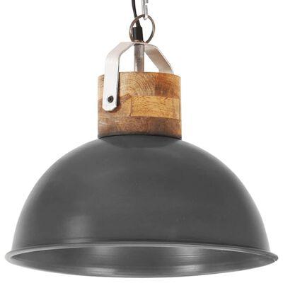 vidaXL Industriální závěsné svítidlo šedé kulaté 32 cm E27 mangovník
