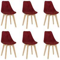 vidaXL Jídelní židle 6 ks vínové samet