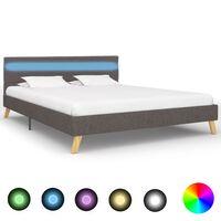 vidaXL Rám postele s LED světlem světle šedý textil 140 x 200 cm