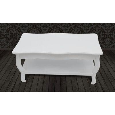 Antik konferenční stolek s poličkou - bílý