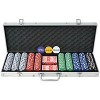 vidaXL Poker set s 500 žetony hliník